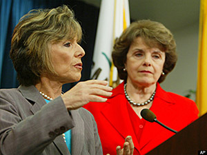 Sen. Barbara Boxer speaks, with Sen. Diane Feinstein by her side