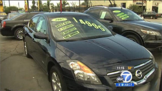 recalled cars on a lot in L.A.